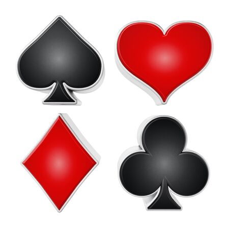 Playing card suits symbols isolated on white background. 3D illustration.