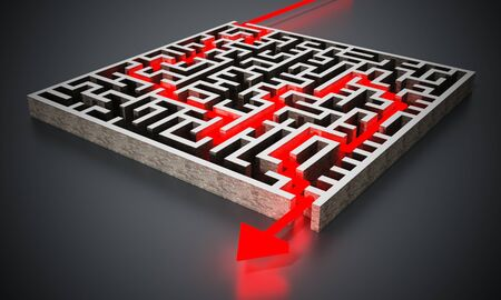Red arrow successfully navigating trough the labyrinth. 3D illustration.