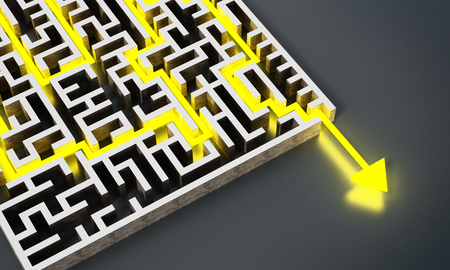 Yellow arrow successfully navigating trough the labyrinth. 3D illustration.