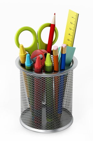 Metal pencil holder with school supplies. 3D illustration.