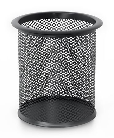 Metal pencil holder isolated on white background. 3D illustration. Stock Photo