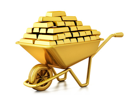 Wheelbarrow full of gold isolated on white background. 3D illustration.