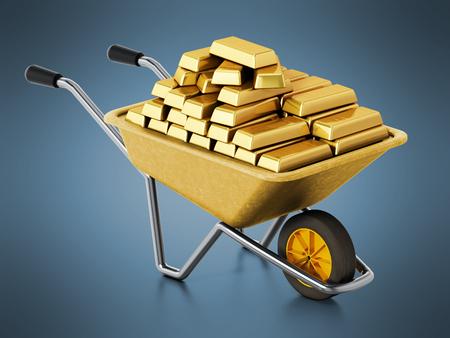 Wheelbarrow full of gold on blue background. 3D illustration.