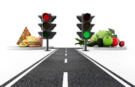 Groen licht voor gezond voedsel en rood licht voor junkfood. 3D illustratie. Stockfoto