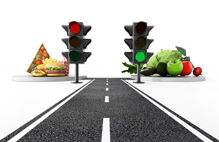 Green light for healthy food and red light for junk food. 3D illustration.