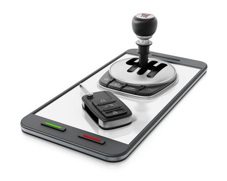 Car manual transmission and key standing on smartphone. 3D illustration.