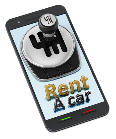 Car manual transmission and rent a car text standing on smartphone. 3D illustration.