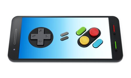 Gamepad buttons on smartphone isolated on white background. 3D illustration.