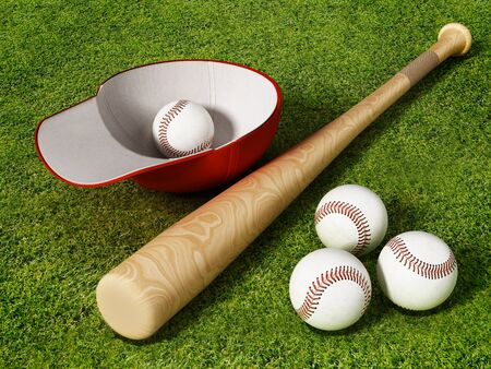 Baseball cap, ball and bat standing on grass field. 3D illustration.