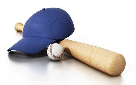 Baseball cap, ball and bat isolated on white background. 3D illustration.