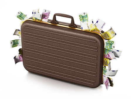 Euro piles inside briefcase isolated on white background. 3D illustration. Stock Photo