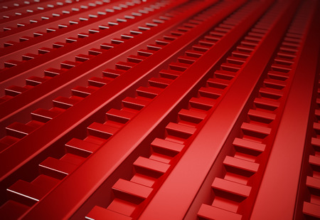 Red metal sheet horizontal background. 3D illustration. Stock Photo