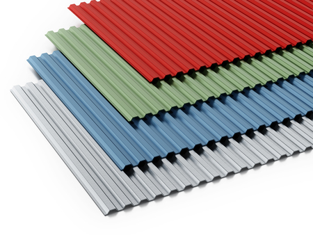 Metal sheets stack with various colors. 3D illustration. Stock Photo