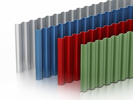 Metalen platen stapel met verschillende kleuren. 3D illustratie