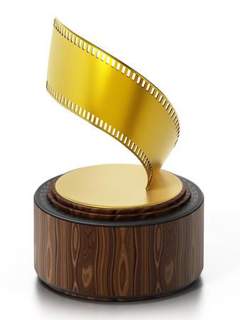 Golden film strip movie award. 3D illustration.