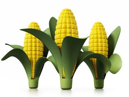 Fresh corns isolated on white background. 3D illustration. Stock Photo