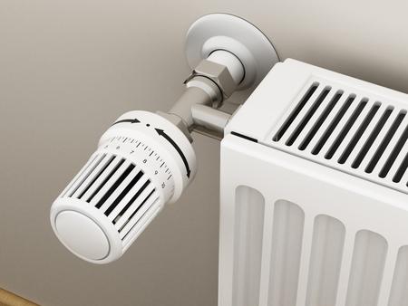 Termostato regolabile del radiatore che controlla il calore. Illustrazione 3D