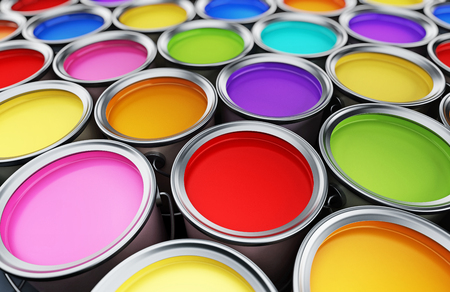 Multi colored paint cans background. 3D illustration. Stock Photo