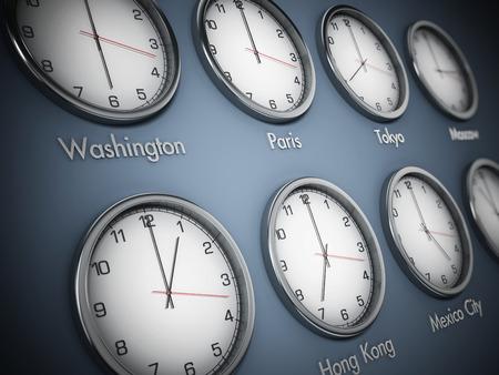 세계 시간의 다른 시간대를 보여주는 현대 벽 시계. 3D 그림입니다. 스톡 콘텐츠 - 92225185