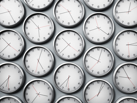 Modern wall clocks showing different time zones of world cities. 3D illustration.