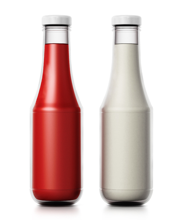 Glass ketchup and mayonnaise bottles isolated on white background. 3D illustration.