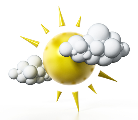 Sun and cloud symbols isolated on white background. 3D illustration.