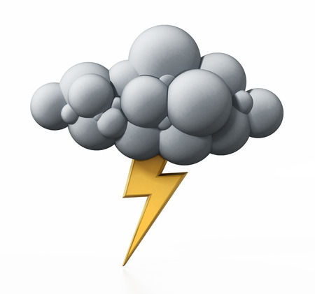 Cloud and flash symbol isolated on white background. 3D illustration.