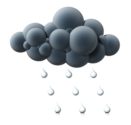 Cloud and water drop symbols isolated on white background. 3D illustration.