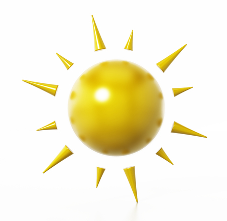 Sun symbol isolated on white background. 3D illustration. Stock Photo
