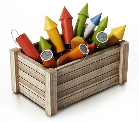 Fireworks standing inside wooden crate. 3D illustration.