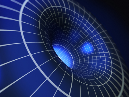 Abstract blue 3D vortex illustration. 3D illustration. Stock Photo