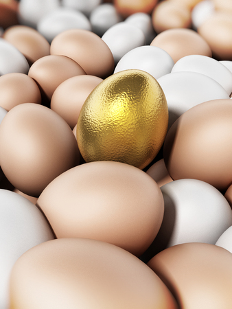Golden egg standing out among brown and white eggs. 3D illustration.