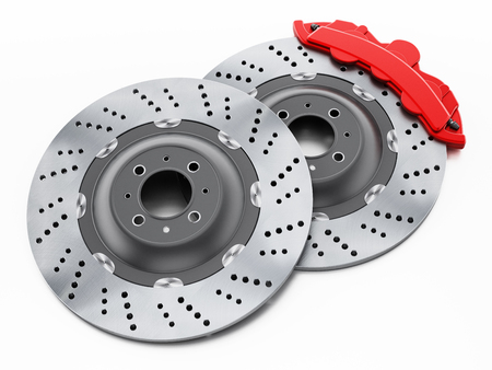 Car brake discs and red calipers isolated on white background. 3D illustration.