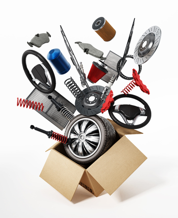 Auto spare parts standing on white background. 3D illustration.