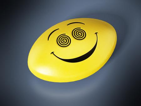 Antidepressivum pil met lachend gezicht. 3D illustratie.