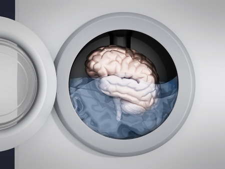 Brain being washed in washing machine. 3D illustration. Stock Photo
