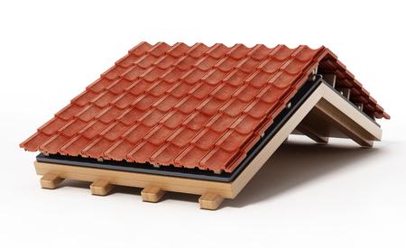 De bouwdetail van het dak dat op witte achtergrond wordt geïsoleerd. 3D illustratie.