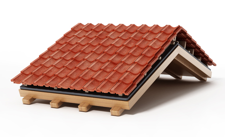 Roof construction detail isolated on white background. 3D illustration. Archivio Fotografico