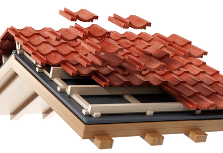 Roof construction detail isolated on white background. 3D illustration. Standard-Bild