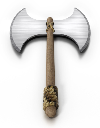 Vintage axe isolated on white background. 3D illustration.