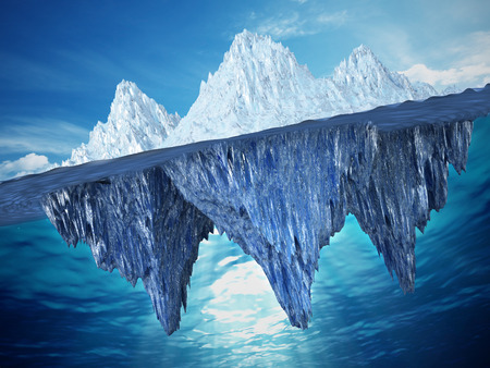 Realistic 3D illustration of an iceberg. 3D illustration.