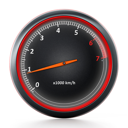 RPM meter isolated on white background. 3D illustration. Stock Photo