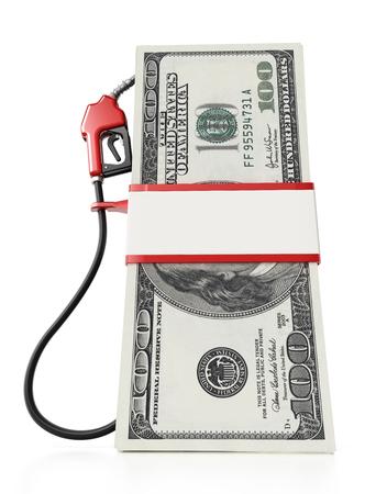 Gas pump attached to 100 dollar bills. 3D illustration.