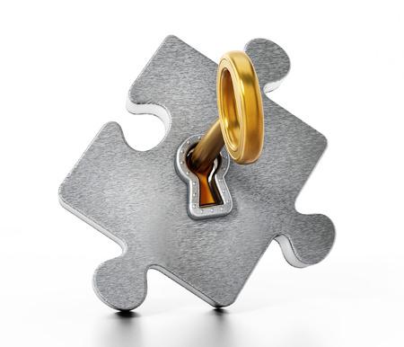 Golden key unlocking metallic puzzle piece. 3D illustration. Stock Photo