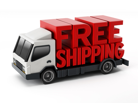Free shipping text standing on delivery truck. 3D illustration. Foto de archivo