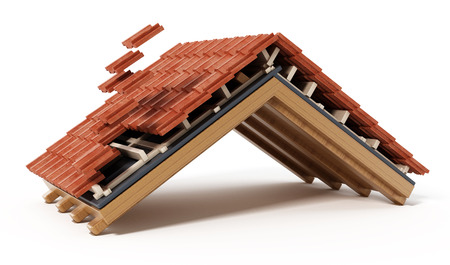 Roof construction detail isolated on white background. 3D illustration. Stockfoto