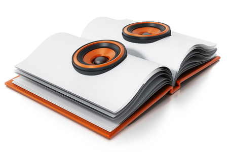 Audio book with speakers on open book. 3D illustration.