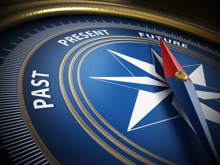 Compass needle pointing future among past and present. 3D illustration. Stock Photo