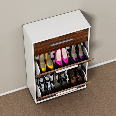 Contemporary wooden shoe cabinet design. 3D illustration.