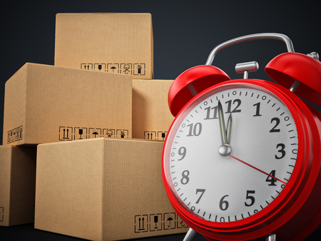 Cargo boxes and alarm clock standing on black background. 3D illustration.